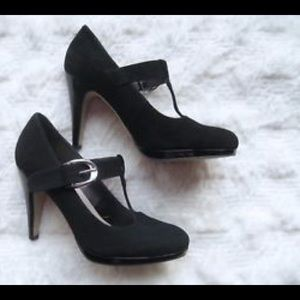 Franco Sarto black suede leather Mary Jane's